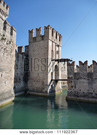 Tower Of Sirmione Fort At The South Of Lago Di Garda