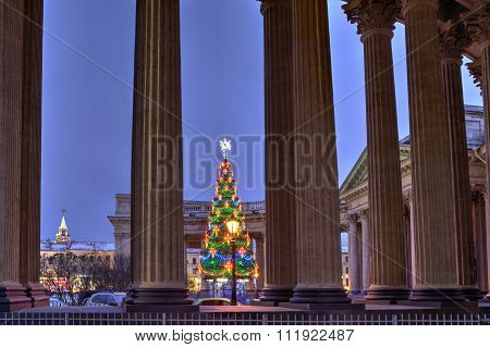 Outside Christmas Tree Lights Opposite Kazan Cathedral, Saint Petersburg, Russia.