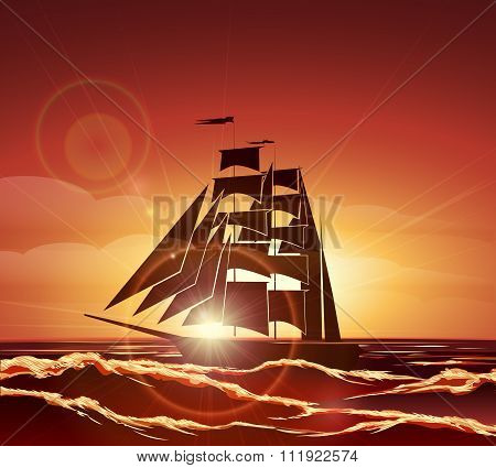 Sailing Ship In The Ocean