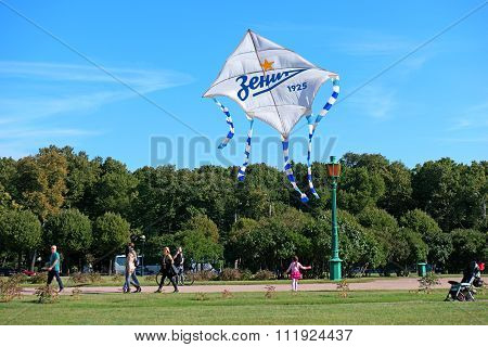 St. Petersburg, Russia - September 12, 2015: Launch A Kite In Honor Of The Football Club Zenit