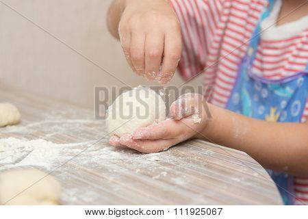 Girl Floured Pastry Stuck Together