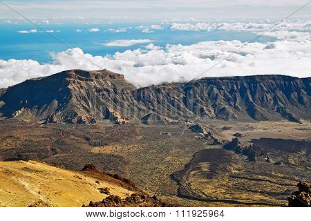 View from peack of volcano El Teide on Teide National Park, Tenerife, Canary Island, Spain
