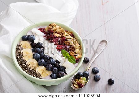 Smoothie bowl with chia, banana, blueberry