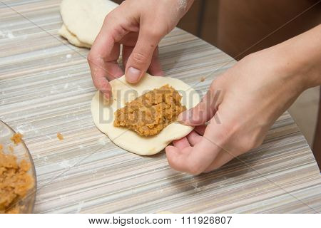 On The Procurement Pie Dough Is Filling, Blind Woman's Hands Preparing Pastry
