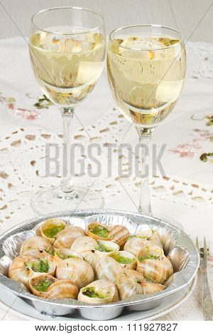 White Wine And Grape Snails