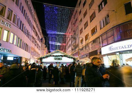 Advent In Center Of Zagreb