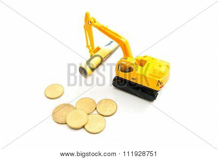 Euro Coins, Banknotes And Backhoe