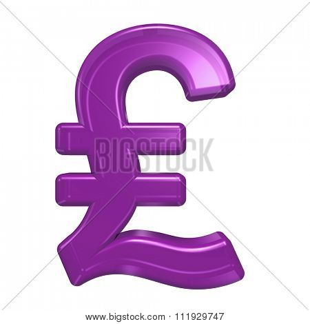 Pound sign from purple glass alphabet set, isolated on white. Computer generated 3D photo rendering.