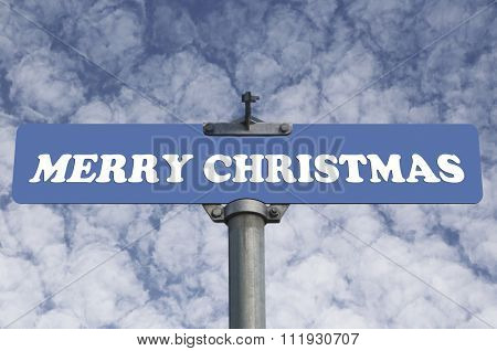 Merry christmas road sign
