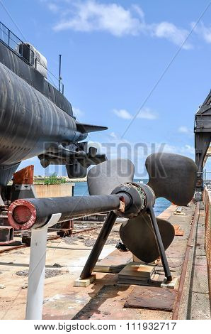 Submarine Propeller on Stand