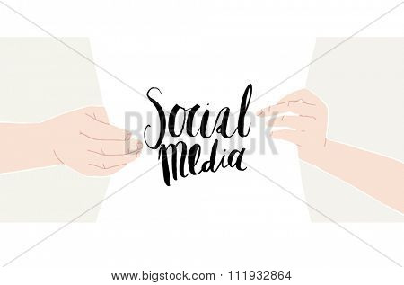 Male and female hands holding a sheet of paper with hand-drawn writing Social media. Vector illustration. Ideal for web backgrounds and content placement.