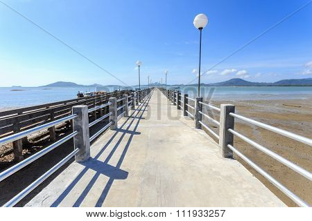 Long Concrete Pier At The Sea In Phuket