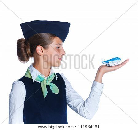 Little stewardess girl