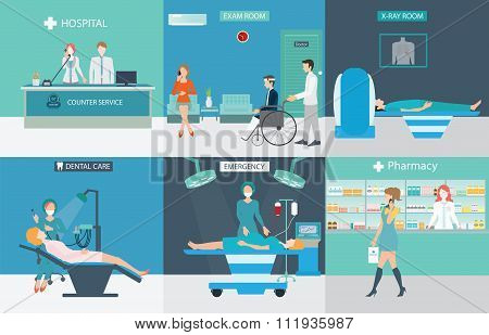 Info Graphic Of Medical Services With Doctors And Patients In Hospitals.