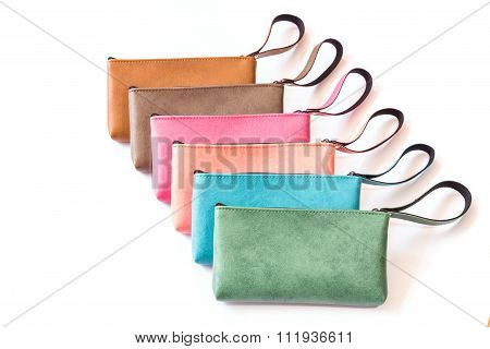 Close Up Color Womens Leather  Purse Isolated On White