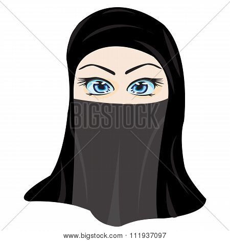 Making look younger girl in hijab