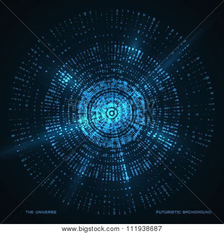 Abstract  background. Circle Futuristic vector fractal backdrop.