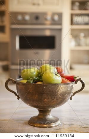 bowl of vegetables in a modern kitchen