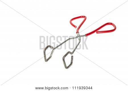 Old Kitchen Grill Tongs Isolated On White