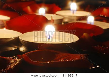 Candles and Rose petals