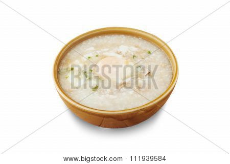 Traditional Chinese Porridge Rice Gruel In Bowl Isolated, Clipping Path