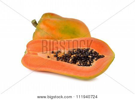 Ripe Papaya On White Background