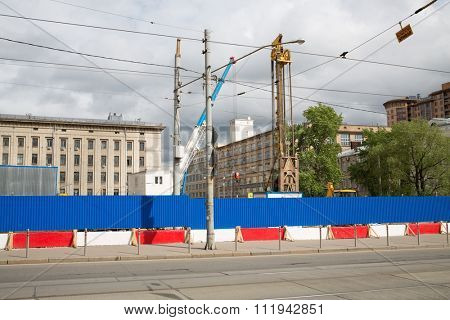 Cityscape with the construction of the Investigative Committee of the Russian Federation.