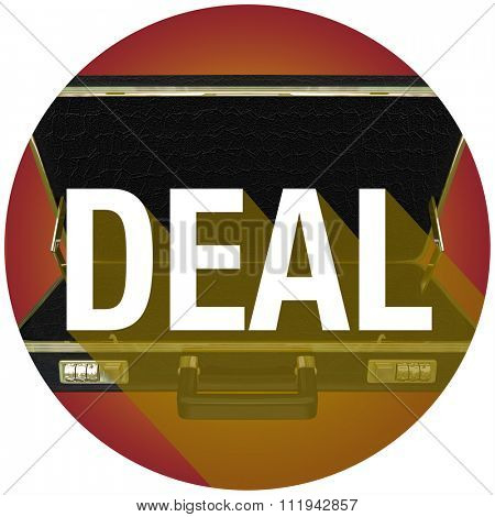 Deal word with long shadow on briefcase to illustrate a contract with a new customer or buyer