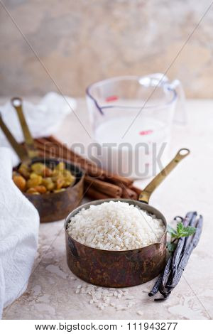 Raw rice in a measuring cup ready to be cooked