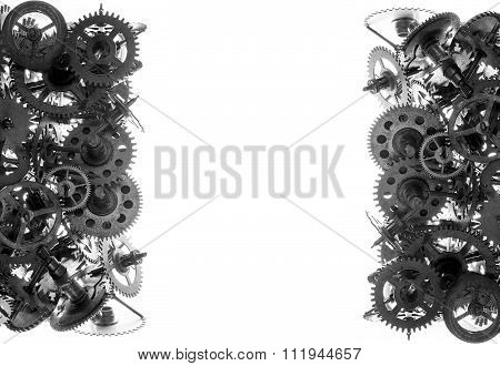 Old Watch Gears Background Bw