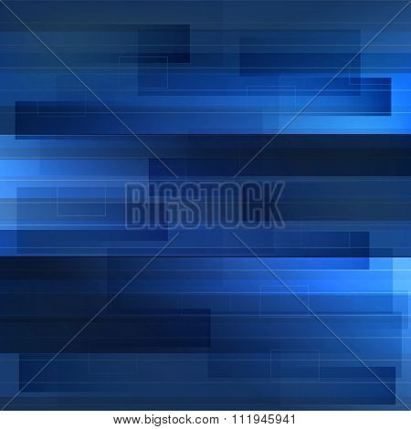 Motion Blue Technology Background With Shapes And Line. Abstract