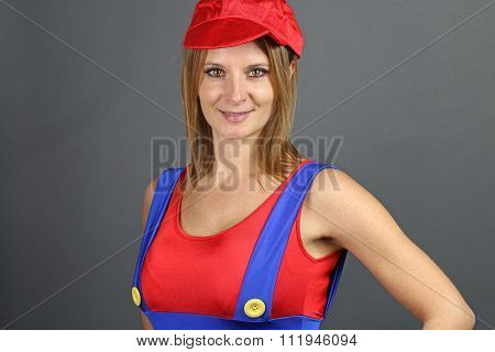 young woman dressed as a character from video games