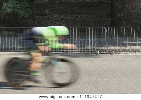 Individual Time Trial Cyclist On A Street