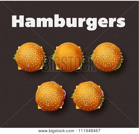 Top view illustration of hamburgers. Realistic vector set.