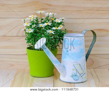 Watering Can And Bouquet Of Daisy-chamomile Flowers In Concrete Pot