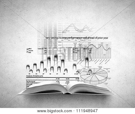 Old opened book with infograph sketches over concrete background