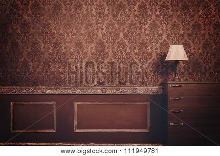 Retro Room With Pattern In Rococo Style
