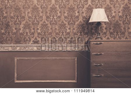 Lamp On Furniture In Vintage Interior