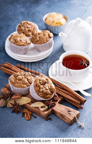 Ginger and nut streusel muffins with winter spices