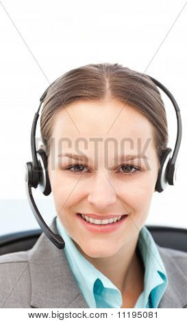 Young Businesswoman On The Phone With Earpiece