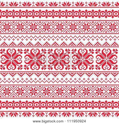 Ukrainian, Belarusian red embroidery seamless pattern - Vyshyvanka