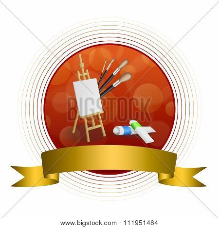 Abstract background easel picture paint brush red yellow circle frame gold ribbon illustration