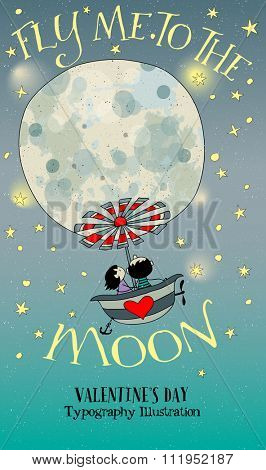 Valentine's Day Illustration - Cartoon illustration with cute couple flying to the Moon in a properly equipped bath tub. Hand drawn whimsical style illustration