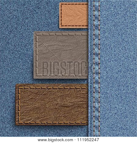 Three Leather Label Sewn Into Denim. Jeans Background Can Be Used For Infographics And Other.