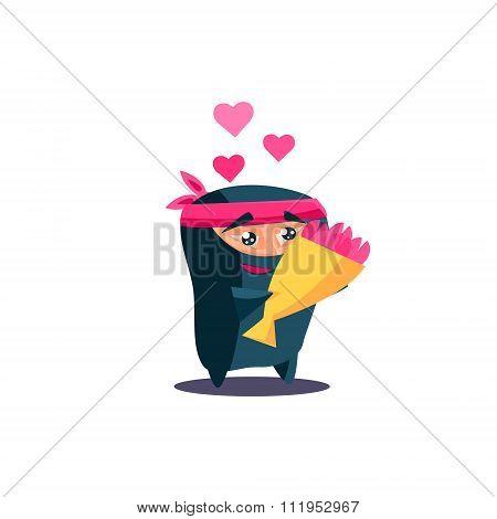 Cute Emotional Ninja In Love with Flowers