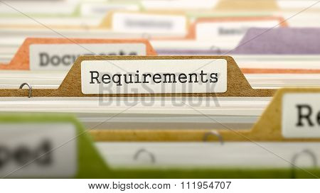 Folder in Catalog Marked as Requirements.