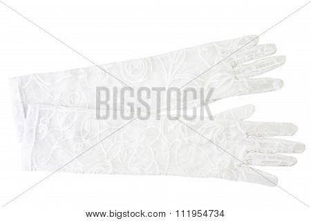 Delicate White Gloves Isolated On White