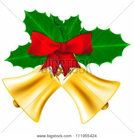 Golden Christmas bells with red bow and leaves of holly