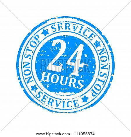 Damaged Round Seal With The Inscription - Service 24 Hours Non Stop - Illustration