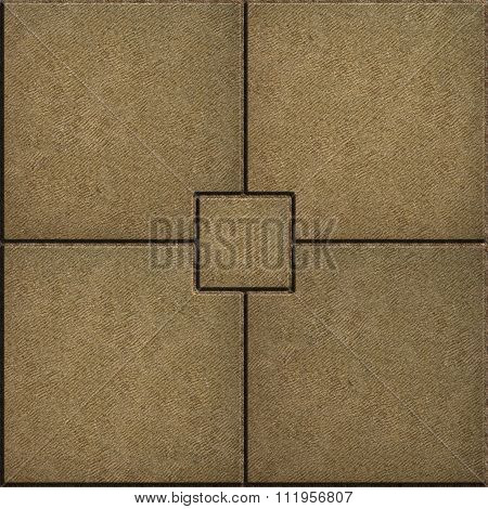 Sand Color Paving Slabs in the form of Small Brick Surrounded Four Large Square.